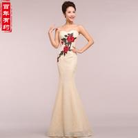 Spring Slim Fish Tail Embroidery Tube Top Cheongsam Wedding Dress Formal Dress LF345