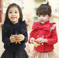 Retail spring autumn baby girl jacket red long sleeve big bow jacket kids girls casual jacket children jacket