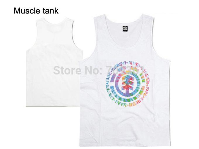 nova chegada tanque elemento mens tops ouros ginásio roupas marca de moda hip hop musculação fitness roupas sem mangas músculo branco(China (Mainland))