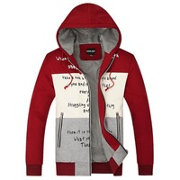 New Casual Patchwork Men Sports Coats Size M-2XL Letter Print Design Man Hooded Jackets Spring / Autumn Clothing