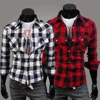 free shipping Fashion gem buckle 100% cotton large plaid casual male slim long-sleeve shirt
