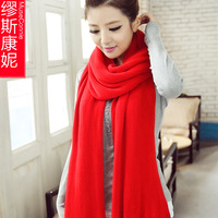 2014 South Korean female winter wool scarves solid color scarf Korean men and ladies winter lovers long thick shawl dual