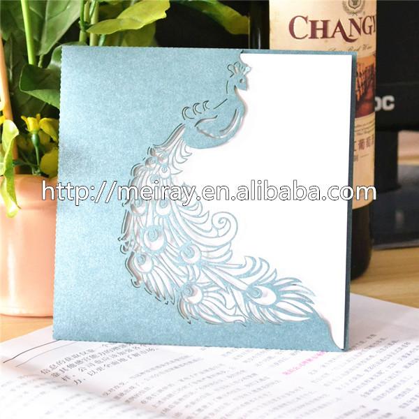 """Cartões de casamento elegante favores! Corte a laser"""" pavão"""" bolso convites de casamento de luxo(China (Mainland))"""