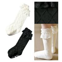 elegant children socks for girl lace bow baby socks cotton kid's socks baby socks 2colors 2pairs/lot free shipping