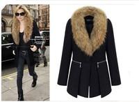 Women windbreaker, 2014 new European and American big yards solid fat mm long section of the jacket fur collar woolen coat