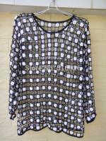 black and White Polka Dot Crochet Blouse Tops Long Sleeved Women Jumpers