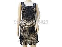 Black Crochet Sheer Women Dresses Sleeveless Dressy Top Beach Swimsuit Cover Up