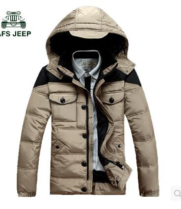 Des hommes nouveaux 2014 à capuche manteau de duvet, de neige chaude et vêtements d'hiver vers le bas veste, duvet de canard blanc, livraison gratuite
