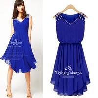 Fashion 2014 Women Dresses Casual Cute Chiffon Femininas Vestido De Festa Diamonds Bohemian Desigual Summer Dress 9122