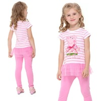 FREE SHIPPING 2014 new hot fashion kids baby girls printed lovely peppa pig with embroiderd tunic top girl T-shirt  LU2