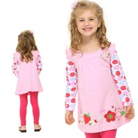 new girls clothes new hot fashion nova kids brand cotton printed strawberries and flowers spring long t shirt for girls F2275