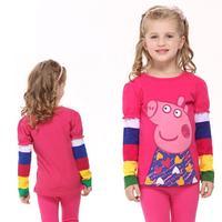 2014 Hot new fashion Nova kids brand children clothing printed peppa pig autumn long sleeve T-shirt  for baby girls F2179