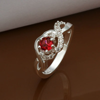 New Arrived 2014 Sterling Silver 925 Wedding Ring,Vantage red Crystal Ring,Bridal 925 Fashion Jewelry ring,Free Shipping R324
