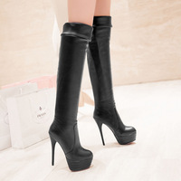 Fashion winter boots Womens High Heels Boots PU Leather knee Thin high boots Women Shoes Drop Shipping ASBO21