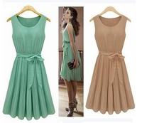 [R-41] Free shipping 2014 New Fashion Korea Women's Elegance Bow Pleated Vest Chiffon Dress Round Collar Sleeveless Dress