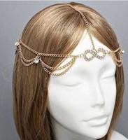 New Design Multilayer Women's Fashion Metal Head Chain Headband Head Piece Acrylic Hair Band Hairband