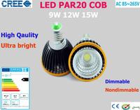 Factory Sale 10pcs LED PAR20 COB Bulbs E27 GU10 15W 12W 9W Cold Warm White 110V 220V Dimmable LED PAR 20 Spotlights Lamps Bulbs