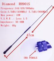 Diamond antenna RH901S UV antenna SMA Feamle suit for BF-UV5R,PX888K,KENWOOD,QUANSHENG TG-UV2 etc. two way radio Freeshipping