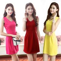 2014 New Women Summer Dress Sleeveless V-neck Pleated Top Shirt Dress Plus Size Women Sexy Club Party Dresses Ladies Vestidos