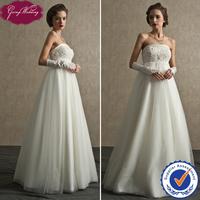 Free Shipping Goingwedding Real Sample Japanese Style Tulle Skirt A-Line Strapless Detachable Train Wedding Dress 2014 FG14004