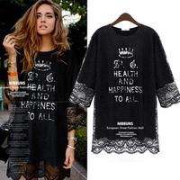 Brand Clothes Lace Chiffon Dress Half Sleeve Loose Big Size Letter Print Vestido  Simple Design Casual Dresses Black White 103