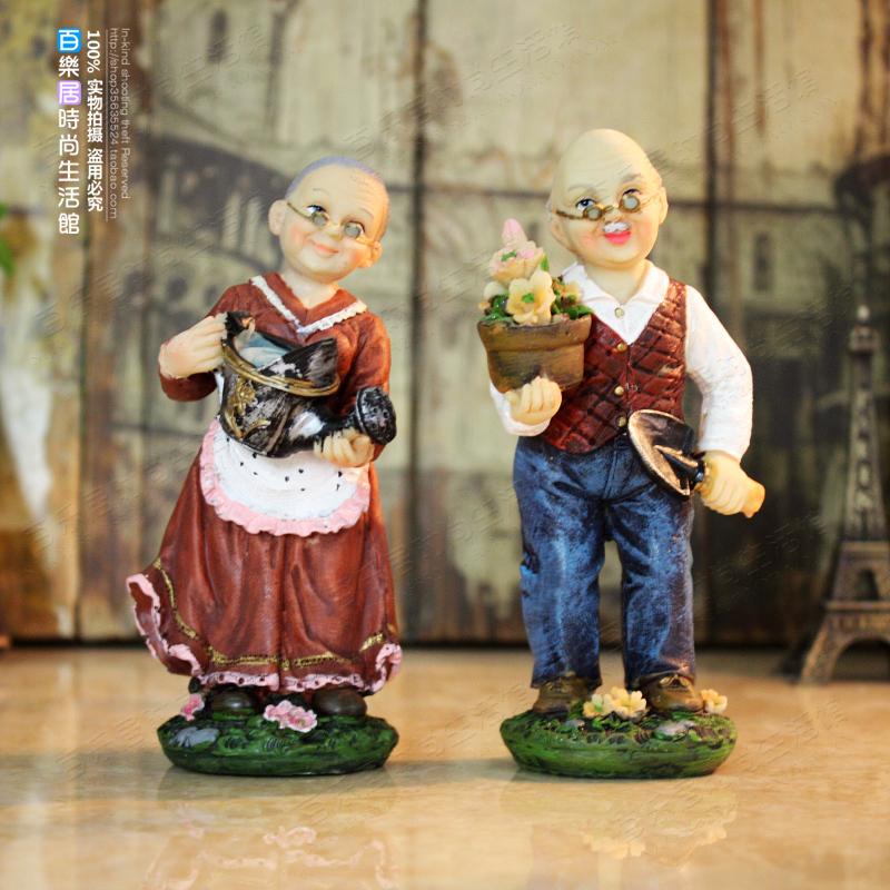 europeu pastoral decoração decorações de casamento presente de casamento de resina artesanato enfeites presentes personagens idosos(China (Mainland))