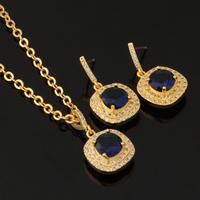 1.25CT AAA+ Swiss Royal Blue CZ Diamond 18K Gold Plated Trendy Jewelry Cubic Zircon Pendant Earrings Jewelry Sets For Women S278