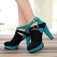 plus size Eur 34-43 buckle chunky high heels women autumn ankle boots shoes woman fashion colors block platform pumps SX140001