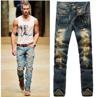 Top Men's Hole Jeans 2014 Fashion Brand Slim Straight Ripped Jeans New Distroyed Designer Vintage Men Long Denim Pants G0056