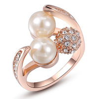 ROXI 2014 NEW Fashion Couple Pearl Ring with Genuine Austrian Crystal Rose Gold Plated Ring Luxury Rings for Women Chrismas Gift