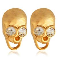New Item 18K Gold Plated Studs Earrings Austrian Rhinestone Cool Cute Skeleton Earrings Fashion Jewelry Gift For Women MGC E316