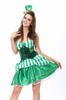 Free Shipping ML5382 Pretty Girl Costumes For Adults Shamrock Sexy Backless Green Beer Girl Maid Costume