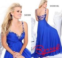RBC768 Royal Blue Spaghetti Straps Sweetheart Crystal Long Prom Dresses New 2014 Chiffon Fast Shipping Abendkleider