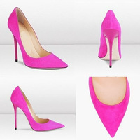 Free Shipping Hot Pink Pointed Toe Women Pumps,Genuine Leather Brand Designer Fashion Pumps,11cm High Heel Party Shoes