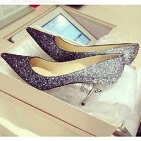 Silver Glitter Wedding Shoes,JC High Quality Women Pumps,Genuine Leather Fashion 2014 High Heel Pumps