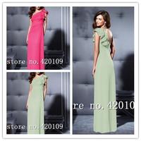 free shipping elegant chiffon evening dress plus size scoop neck designer summer dress 2014