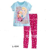 Girls Frozen Princess pajama kids sets Frozen Clothing Sets Sleepwear Frozen Anna & Elsa Forever Sisters Lycra Sets