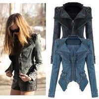 2014 new item autumn chaqueta fashion women jacket rivet retro- vintage clothes Europe hot sale coat long sleeves zipper slim