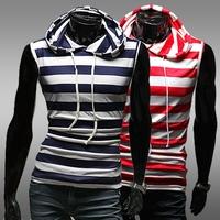 free shipping Fashion male stripe short t slim with a hood short-sleeve T-shirt