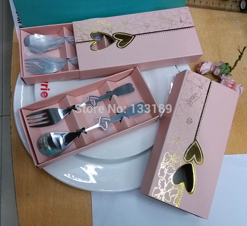 Free shipping 200sets/lot Perfect Pair Coffee Spoons and fork set for Valentines Day Gifts Wedding Party Favors(China (Mainland))