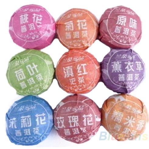 9pcs Different puerh tea Pu er Slimming Puer Ripe Raw 03YT