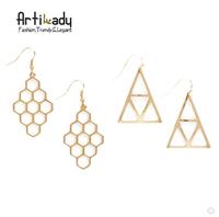 Artilady fashion design triangle earrings grape design stud earring custom gold plated two style women earring jewelry
