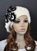 Beautiful Cute Real Fur Flowers Warm Rabbit Fur Winter Beret Hat Cap White  M24