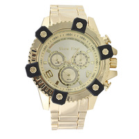 NEWEST brand business military MEN GOLD ROES gun  steel sport casual F1 racing watch,oversize quartz waterproof wristwatch clock