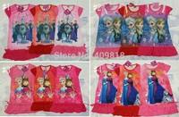 2014 summer girls dresses Frozen Princess patterns children nightdress Cartoon 100% Cotton kids pajamas dress sleepwear A001
