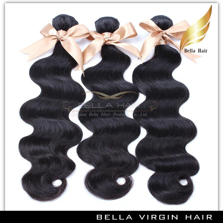 100% unprocessed malaysian virgin hair natural black color malaysian body wave human hair extensions cheap Bella hair products(China (Mainland))