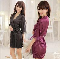 Women's sexy sleepwear summer transparent silk robe plus size bathrobe underwear lace nightgown set temptation
