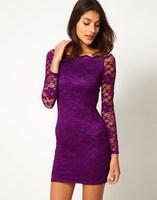 [B-156] 2014 Spring new women sexy&club lace solid sheath dress empire slash neck chiffon dress