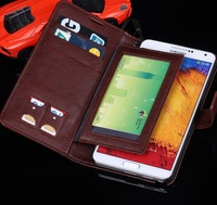 New style Luxury leather wallet leather case for samsung galaxy note3 N9000 with credit card holder  freeshipping