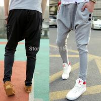 Hot sale design Korean style drop crotch mens pants male sweatpants sports trousers solid color outdoors joggers M-XXL